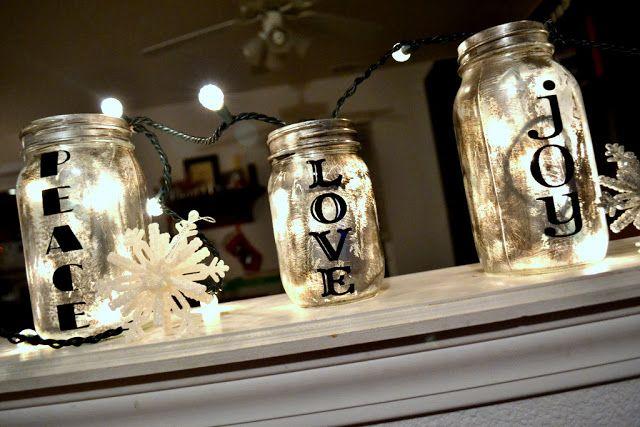Antiqued Mason Jar Tutorial.  Really easy fun holiday craft.