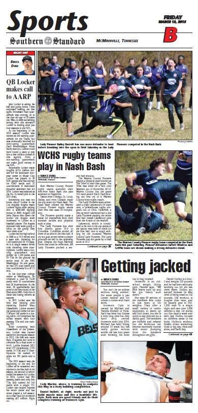 Top sports headlines   WCHSS rugby teams play Nash Bash  Getting Jacked  WCHS tennis teams take the court   All this and more in the Sports Section of the March 13 edition of the Southern Standard  http://www.southernstandard.com/section/3/