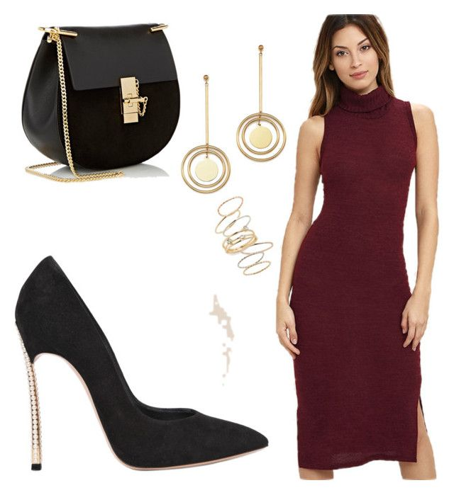 """""""Classy Red"""" by julianneraye on Polyvore featuring LULUS, Casadei, Bloomingdale's, BP. and Chloé"""