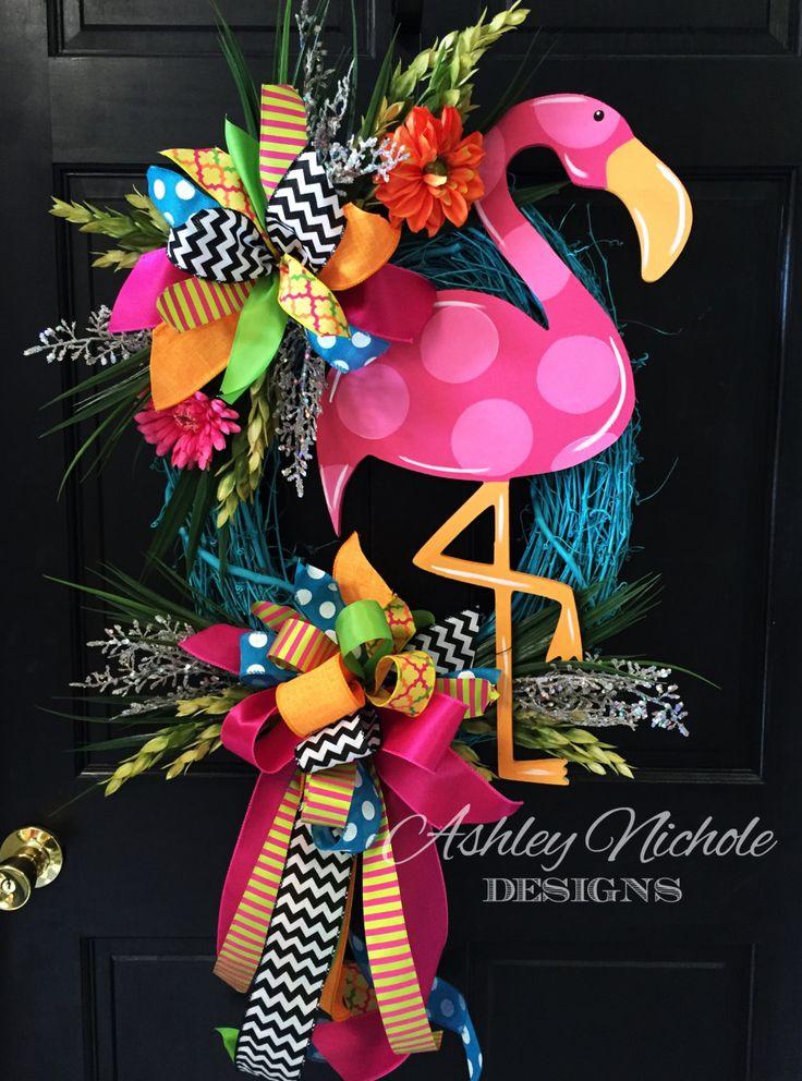 Flamingo Colorful Wreath Door Decoration by DesignsAshleyNichole