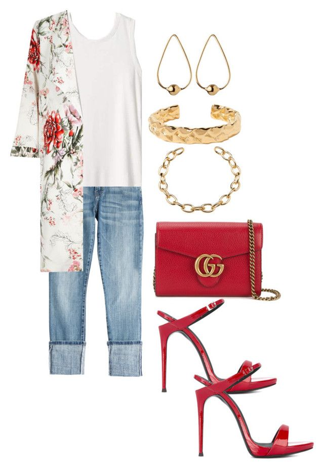 Untitled #933 by devinbillingslea on Polyvore featuring polyvore fashion style Gap River Island Current/Elliott Giuseppe Zanotti Gucci Jennifer Fisher clothing