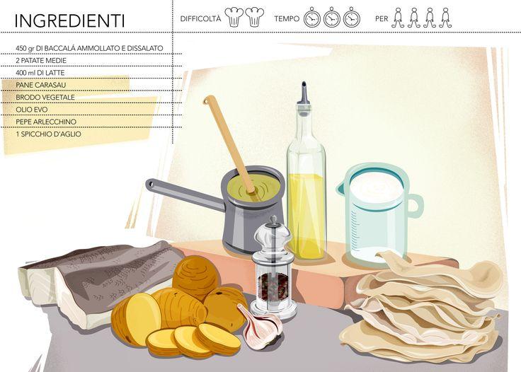 millefoglie di baccalà e pane carasau - igredienti
