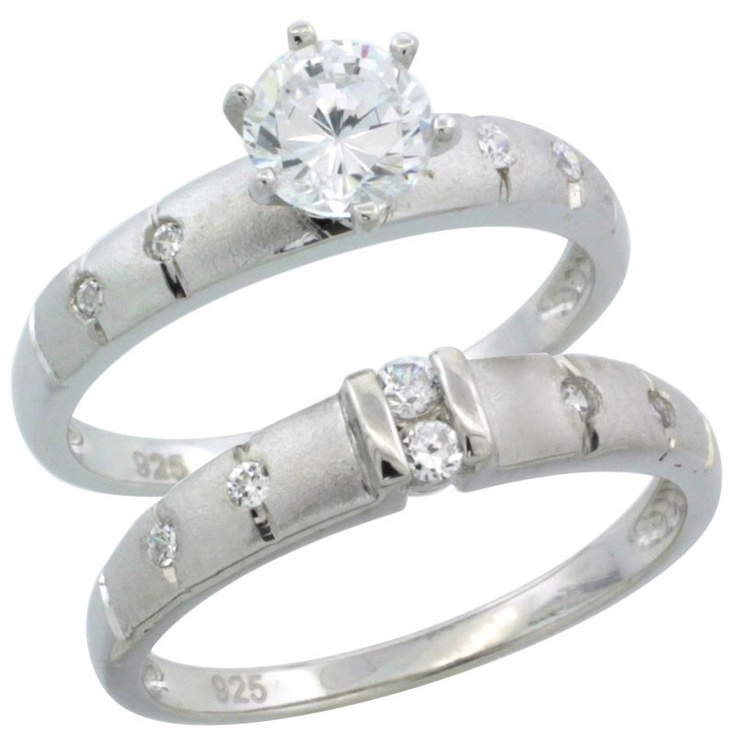 Sterling Silver 1 Carat Size CZ Engagement Ring Set, In.