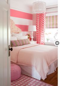 Love this PINK bedroom....I think I am going to go for the striped accent wall in the new house <3