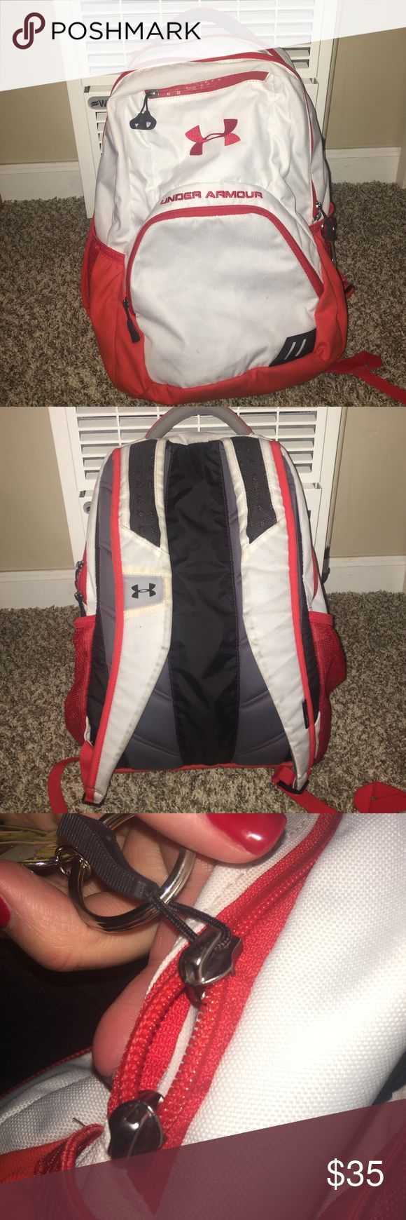 Under armor backpack! Under armor storm back pack with 3 large pouches, 1 small pouch, a laptop sleeve, and 2 water bottle holders on sides! A few minor flaws (images 3 and 4) and a little bit dirty in a couple spots but nothing major! Perfect backpack for school or the gym! Under Armour Bags Backpacks