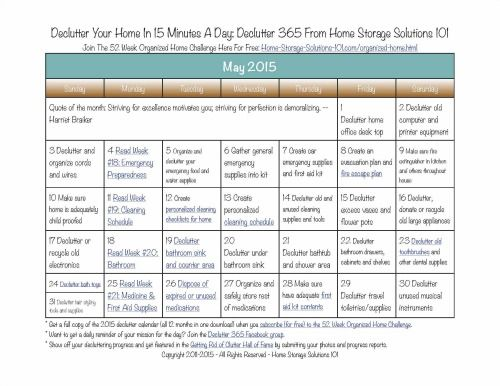 Want to get your home decluttered? Grab your free copy of the printable May 2015 declutter calendar with daily 15 minute missions {courtesy of Home Storage Solutions 101}