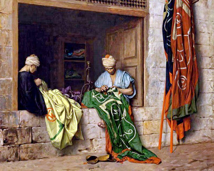 The Flag Makers - Fabricant de drapeaux  By Jean-Léon Gérôme , French , 1824-1904  Oil on canvas , 66 by 78.5 cm