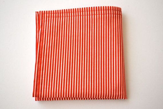 Pocket Square Red and White Stripe by AmandaJoHandmade on Etsy