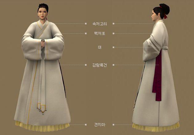 Goryeo Dynasty(AD918-1392) Korean traditional clothes #hanbok '고려도경' 근거 사녀복식 백색모시 장의, 황견(黃絹) 치마 착용. - 문화콘텐츠닷컴