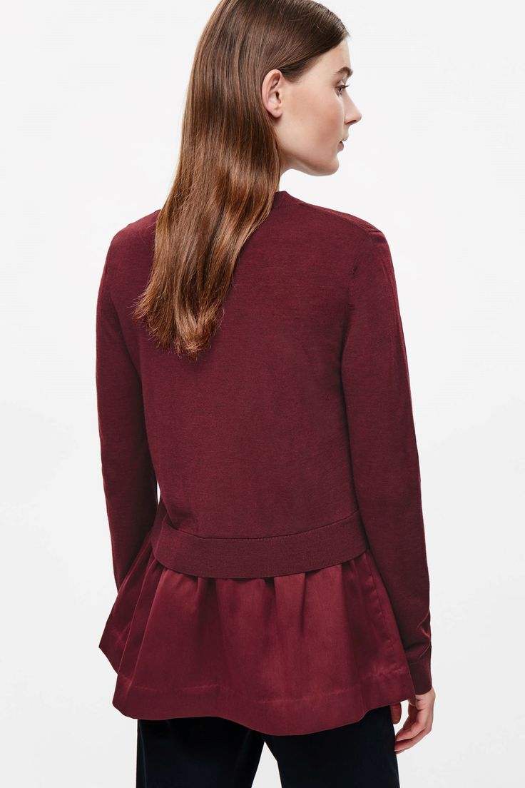 COS image 3 of Knitted top with woven skirt in Cherry