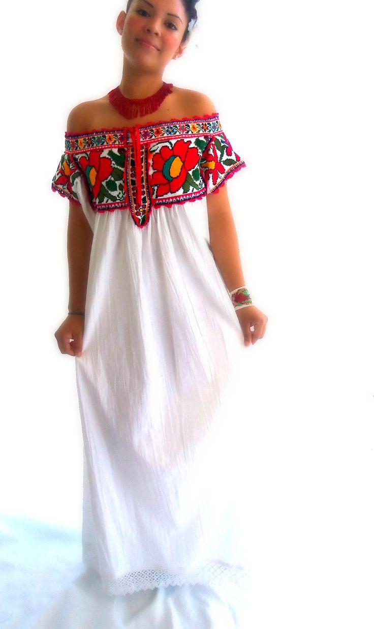 Rosa Maria Juquila Handmade Embroidered  Wedding Mexican Maxi Dress. $640.00, via Etsy. My wedding dreww