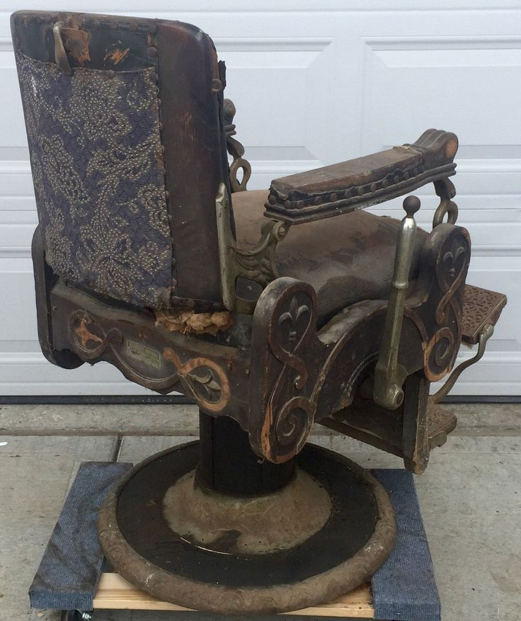 RARE Antique Oak Congress Style Koken Barber Shop Chair 1901 Working  Hydraulics | EBay