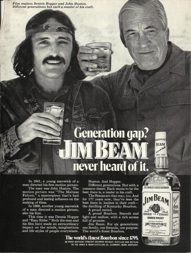 """Generation gap? Jim Beam never heard of it."" 1972. #vintageads #Ads #vintage #PrintAd #tvads #advertising #BrandScience #influence #online #Facebook #submissions #marketing #advertising"