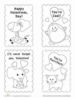 Valentine's Day First Grade Paper Projects Holiday Worksheets: Valentine's Day Card Templates
