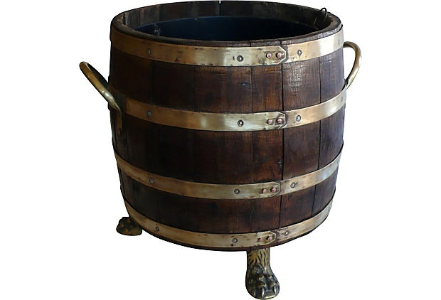 Lion's-Paw Barrel.....meant to hold chopped wood. (paint terra cotta lions feet): Vintage Marketing, Lionspaw Barrels, Chops Wood, Parties, Planters, Lion S Paw Barrels M, Products, Decor Accessories, Barrels Things