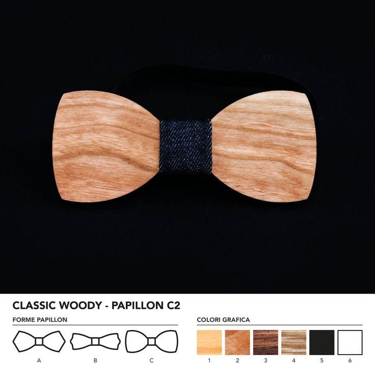 CLASIC WOODY - PAPILLON C2  Papillon in legno di ciliegio. Nodo centrale personalizzabile in base alle vostre esigenze e alle nostre disponibilità.  N.B. Usando legno massello naturale ogni prodotto presenta diverse venature e sfumature di colore, rendendo così ogni papillon unico è diverso dagli altri.
