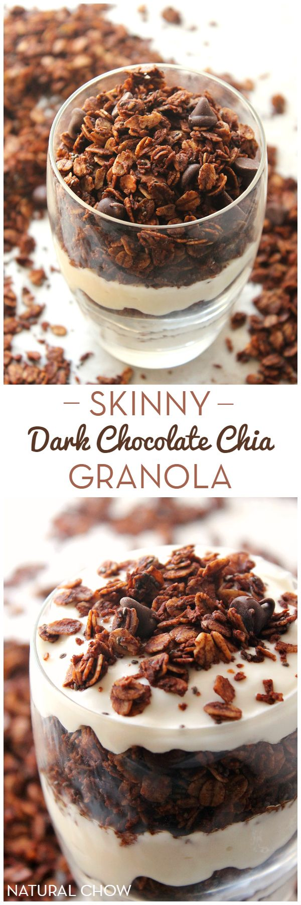 Who says breakfast can't be indulgent? This skinny dark chocolate chia granola has an intense chocolate flavor and is perfectly crunchy and sweet.