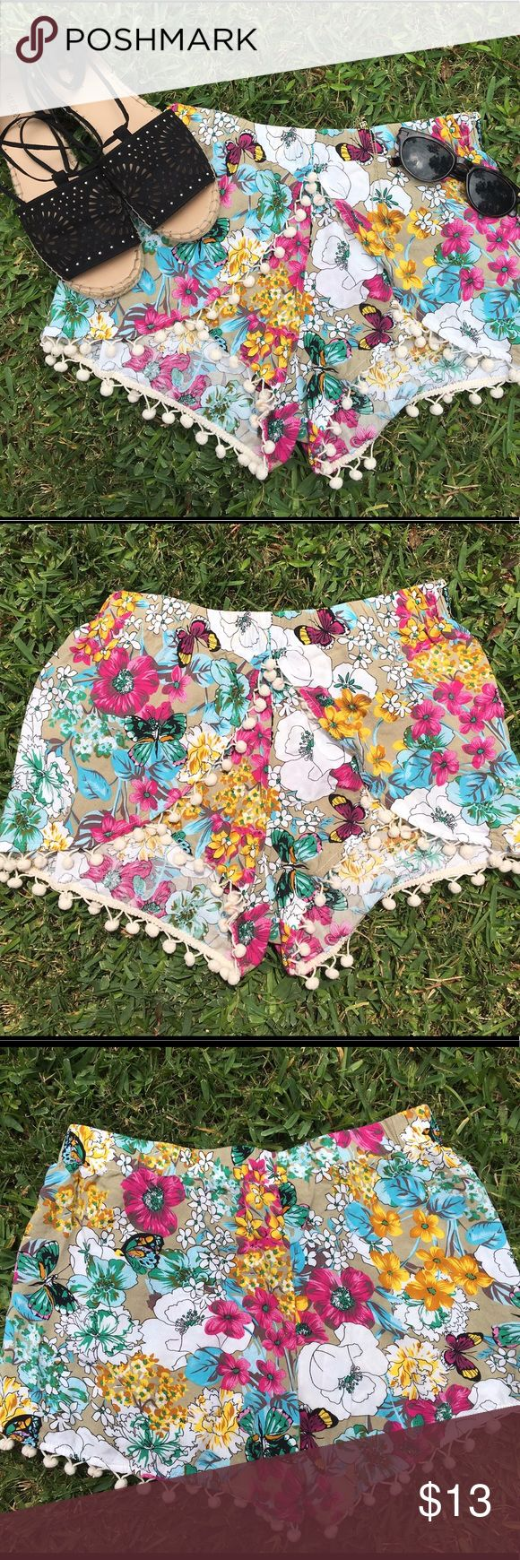 Floral patterned shorts with Pom Pom detail!! Super cute colorful patterned cotton shorts with super cute Pom Pom trim around the edges! In great condition! Perfect for spring and summer!! umgee usa Shorts