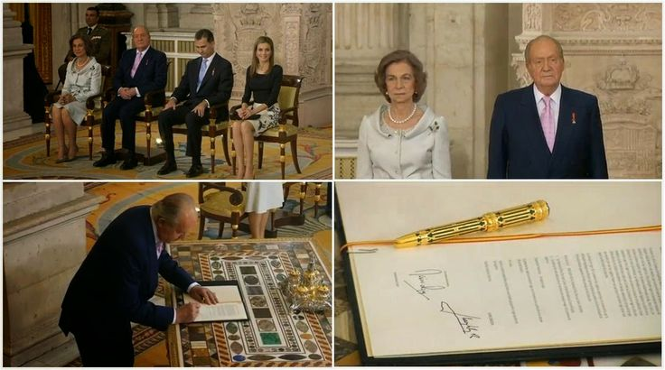 Juan Carlos I ended his reign today, as he signed the bill of abdication in the grand Hall of Columns at the Royal Palace. The ceremony was short but moving, and extended applause greeted the King as he symbolically switched chairs with his son after the signing.
