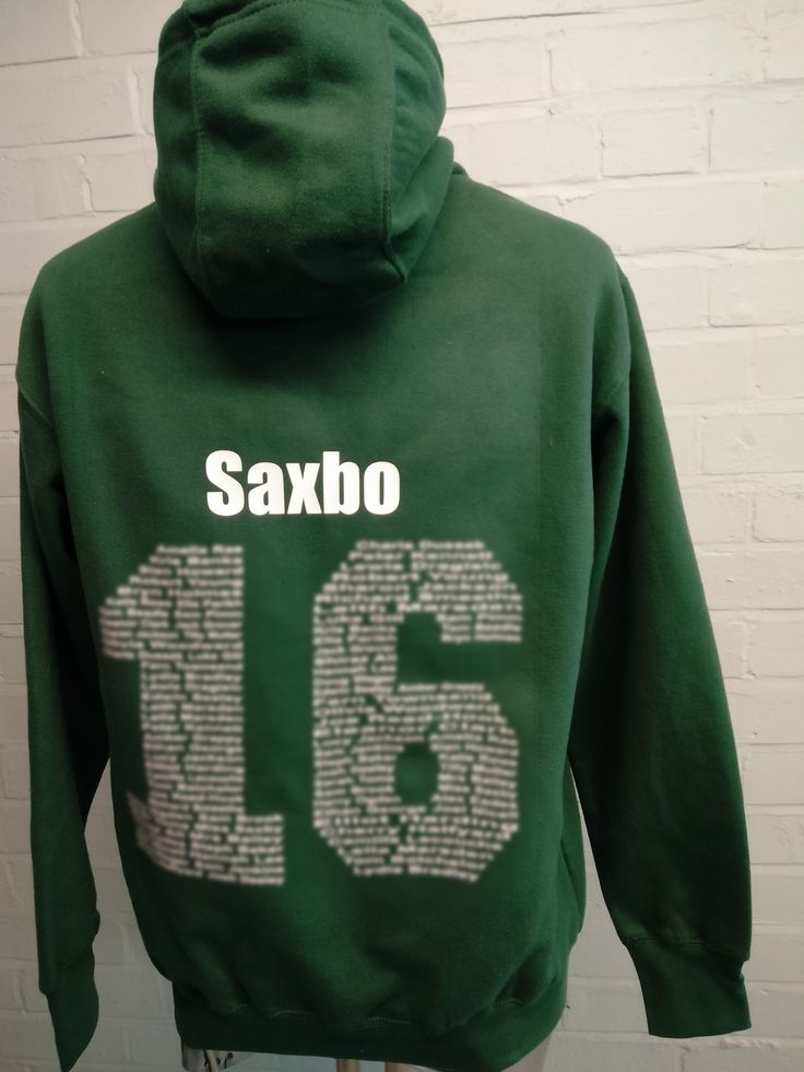 These are looking good for HHS, Leavers Hoodies in Green with custom embroidered logo on the front and Leavers names print on the back. These ones have individual Leavers names at the top of the back print on them, which really stands out from the crowd.
