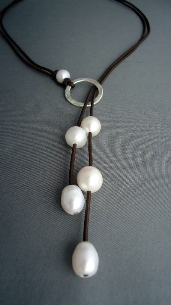 Leather and pearls Hammered sterling silver lariat, Leather Necklace,Sterling…