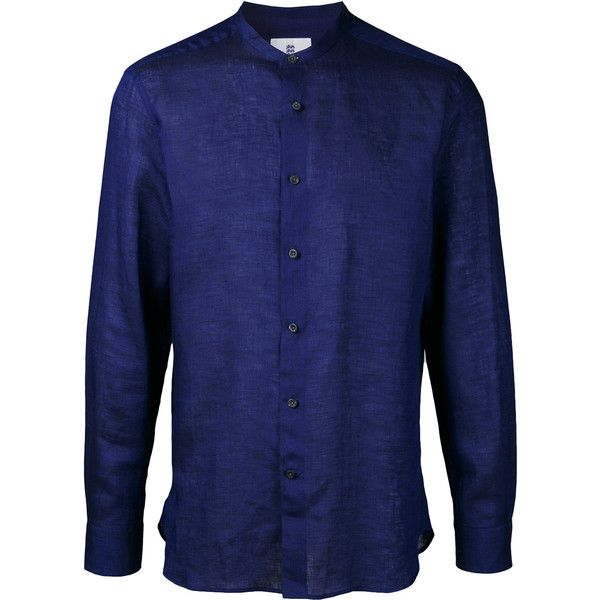 Kent & Curwen band collar shirt ($350) ❤ liked on Polyvore featuring men's fashion, men's clothing, men's shirts, men's casual shirts, blue, mens linen shirts, mens blue linen shirt, mens blue shirt and mens banded collar shirts