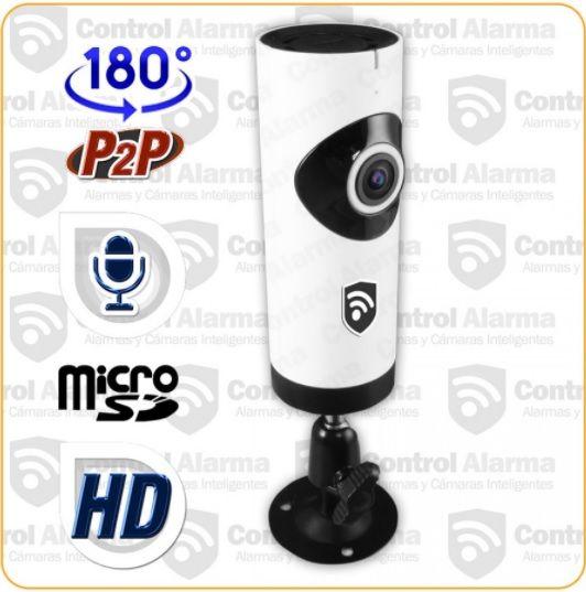 Cámara Ip Wifi 3D 180° Mod. DR2E Características:  - Visión Nocturna - Resolución HD 1 MPX 1280x720 - Ir Cut ajustable - Encriptación y acceso seguro - 180° Ojo de pez - Compresión Video H.264 - Notificación movimiento detectado - WiFI - Control a distancia - Micrófono y Altavoz incorporado  Contenido que incluye el paquete:  Cámara Ip Interior HD 180° Visión Panorámica  1 Regulador Usb 5v/1Ah  1 Base Metálica Herramientas de configuración y lo necesario para su instalación.