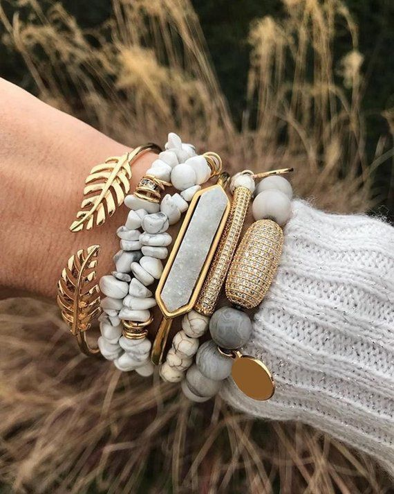 Bracelets for Women Bridesmaid Gift Girlfriend Gift Best Friend Gift Druzy Bangle Bracelet Stack Bracelet Sets Boho Jewelry Druzy Stack Gold