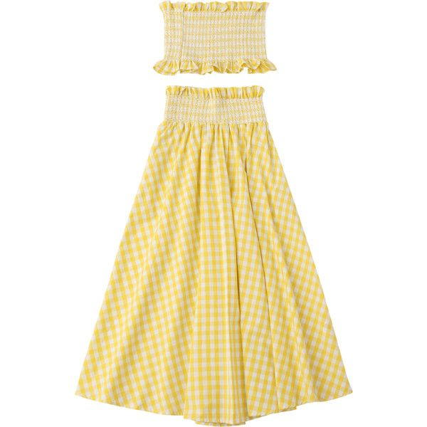 Ruffles Smocked Tube Top And Checked A-Line Maxi Skirt ($22) ❤ liked on Polyvore featuring skirts, beige a line skirt, beige maxi skirt, ankle length skirts, beige skirt and maxi skirts