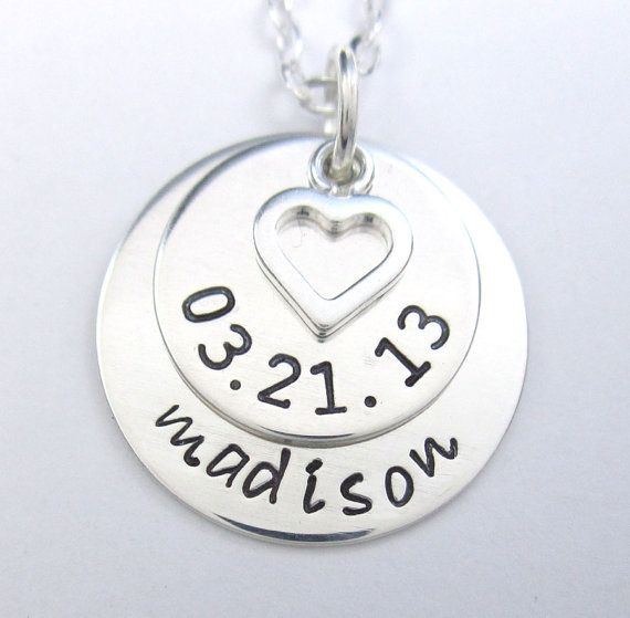 Personalized Mom Necklace - Handstamped Baby Name and Birth Date and Heart Charm - New Born Baby - Sterling Silver - 3/4 inch disc