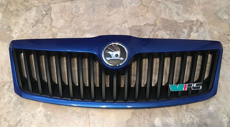 SKODA OCTAVIA MK2 2 II VRS 08-12 GRILL PAINTED RACE BLUE & NEW SKODA BADGE | eBay