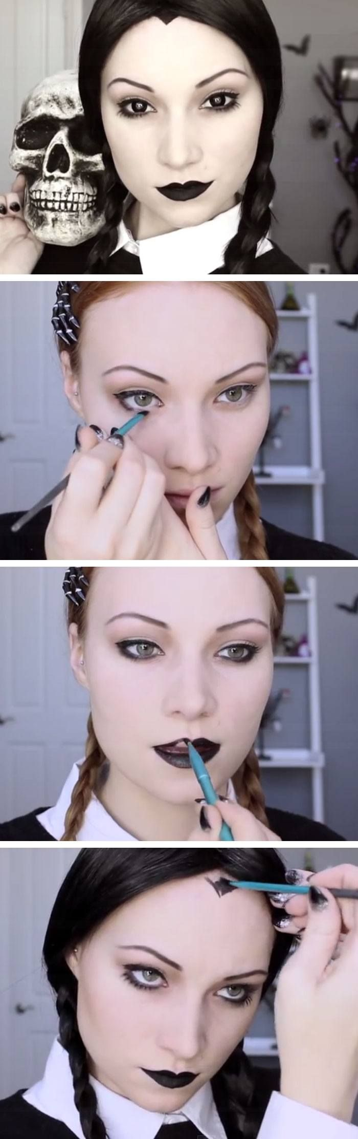 Wednesday Addams Makeup Tutorial | Click Pic for 18 Easy DIY Halloween Costumes for Women | Last Minute Halloween Costumes for Girls