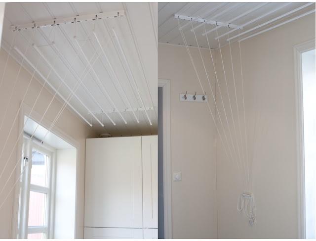 Vaskerom - takhengt tørkesnor Interiordetalj.no