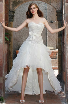 Brides: Impression Bridal  : Wedding Dresses Gallery... Hi low dress with corset. LOVE. I'd rock a blinged belt with it instead of the bow.