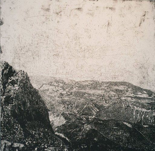 Raymond Arnold, Searching for Immortality in the Mountains, etching