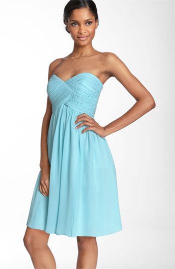 Donna Morgan Strapless Silk Chiffon Dress available at #Nordstrom