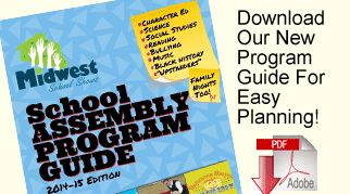 2014-15 School Assembly Program Guide. Easy assembly planning. 25 professional assemblies with Science, Math, Reading, Bullying, Character, and Cultural topics.  PDF that is easy to print and share!!