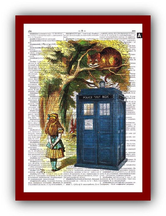 Alice In Wonderland And Doctor Who Tardis Artwork By Gardarica