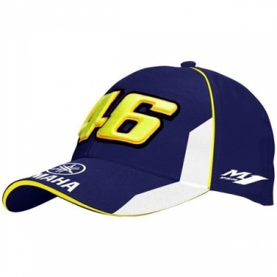 Official Valentino Rossi Merchandise for the 2013 Moto GP season.  Blue and white with yellow piping detail. Featuring a contrasting design with white panels on the peak and front of the cap and features a large 46 embroidered logo on the front with the Yamaha logo on the peak. This Valentino Rossi 2013 46 Yamaha cap has contrast peak edging and an adjustable strap at the back for a one size fits all fit.