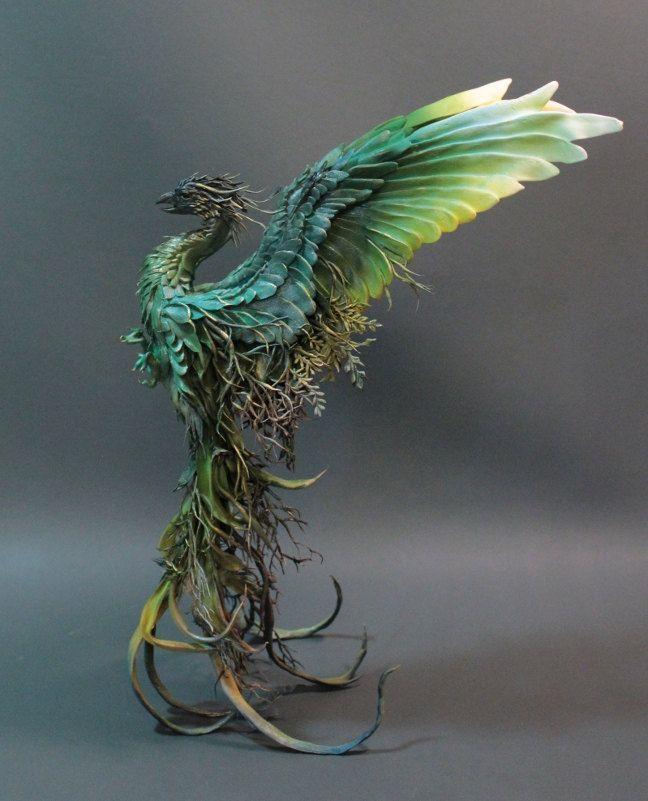 Forest Floor Phoenix original OAK sculpture by creatures from el - Ellen Jewett