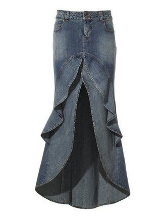 Jean Skirt - Jean #Upcycle - I don't really wear jeans so it would be out of black twill pants...