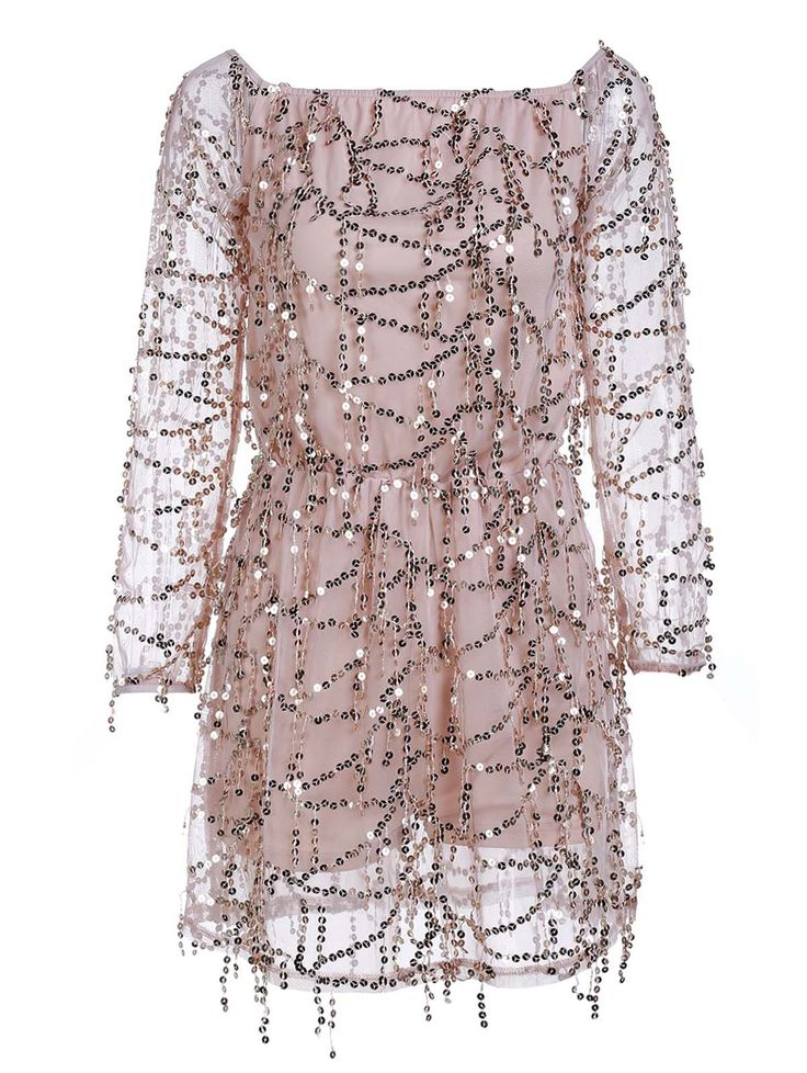 Sequined blush dress for a spring party//