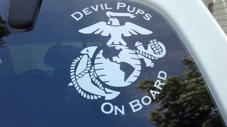 """Devil Pups On Board"" with EGA. Marine Corps Car Decal made for our vehicle with my Silhouette Cameo. USMC"