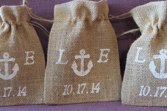 Personalized Burlap wedding favor bags for by MadyBellaDesigns, $40.50
