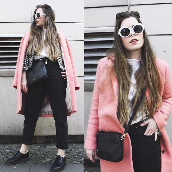 Get this look: http://lb.nu/look/8700983  More looks by Elaine Hennings: http://lb.nu/dontbearunaway  Items in this look:  Topshop Coat, Monki Sunglasses, Fossil Bag, H&M Blouse, Pull & Bear Jeans, Dr. Martens Shoes, Zara Jacket   #casual #edgy #street #fashion #blogger #outfit #ootd #space