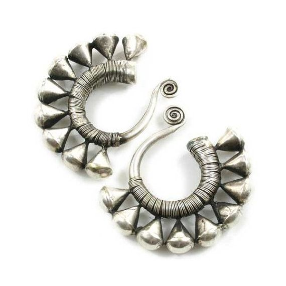 Vintage Tribal Organic Pair Miao Silver Earrings With Unusually High Silver Content    Weight: Approximately 1 1/2 ounces/pair  Outer Measurement: 8 inches  Length: 2 1/2 inches   by TemplesTreasureTrove, $69.95