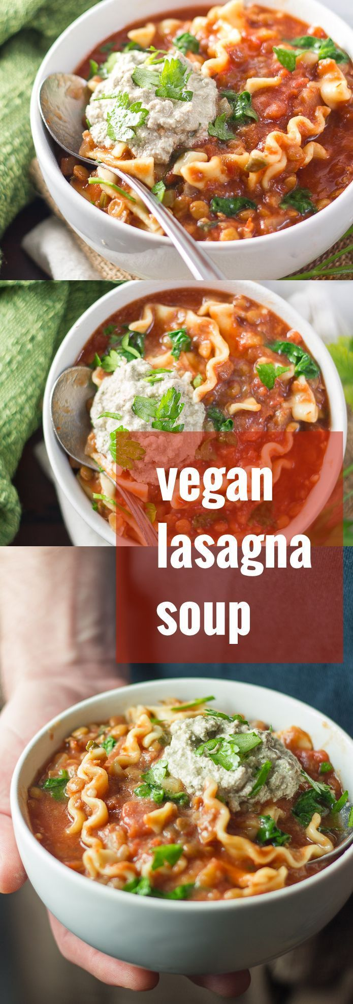 Hearty lentils and tender noodles are simmered up in chunky tomato soup and topped with creamy vegan pesto ricotta to make this cozy vegan lasagna soup.