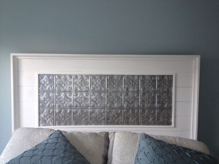 Our homemade headboard using different ideas from fellow for Makeshift headboard
