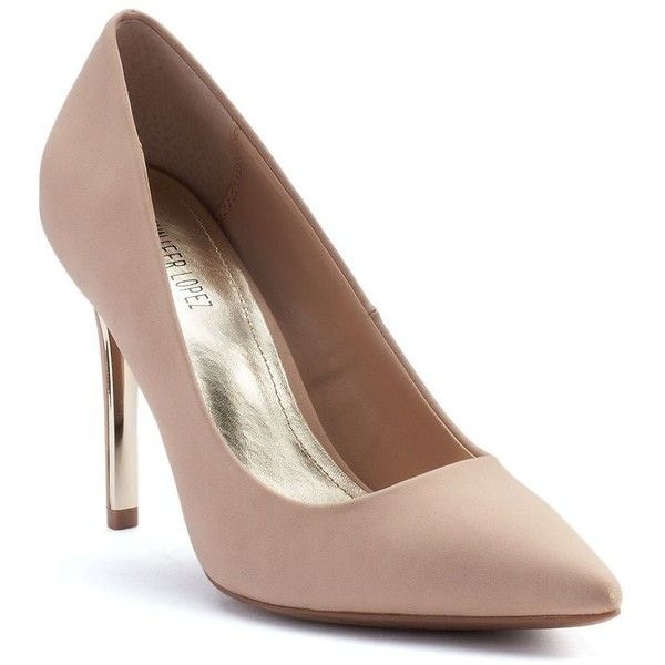 Jennifer Lopez Women's Classic Stiletto High Heels ($50) ❤ liked on Polyvore featuring shoes, pumps, pointed toe pumps, beige pumps, high heel pumps, metallic pumps and high heel stilettos