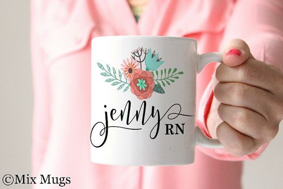 Nurse Mug, RN Mug, Nurse Personalized Mug, Mugs Personalized, Custom Name Mugs, Nurse Gift, Registered Nurse Gifts, RN Gift Floral Mug (N11)